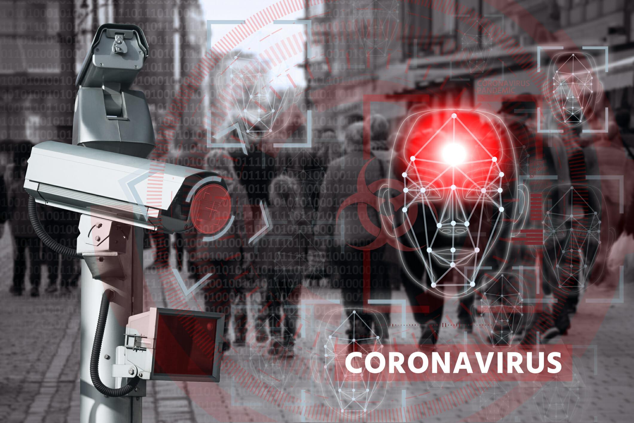 コロナウイルスに関係する顔認証システムの写真